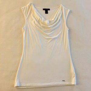White Cowl Neck Top - White House Black Market